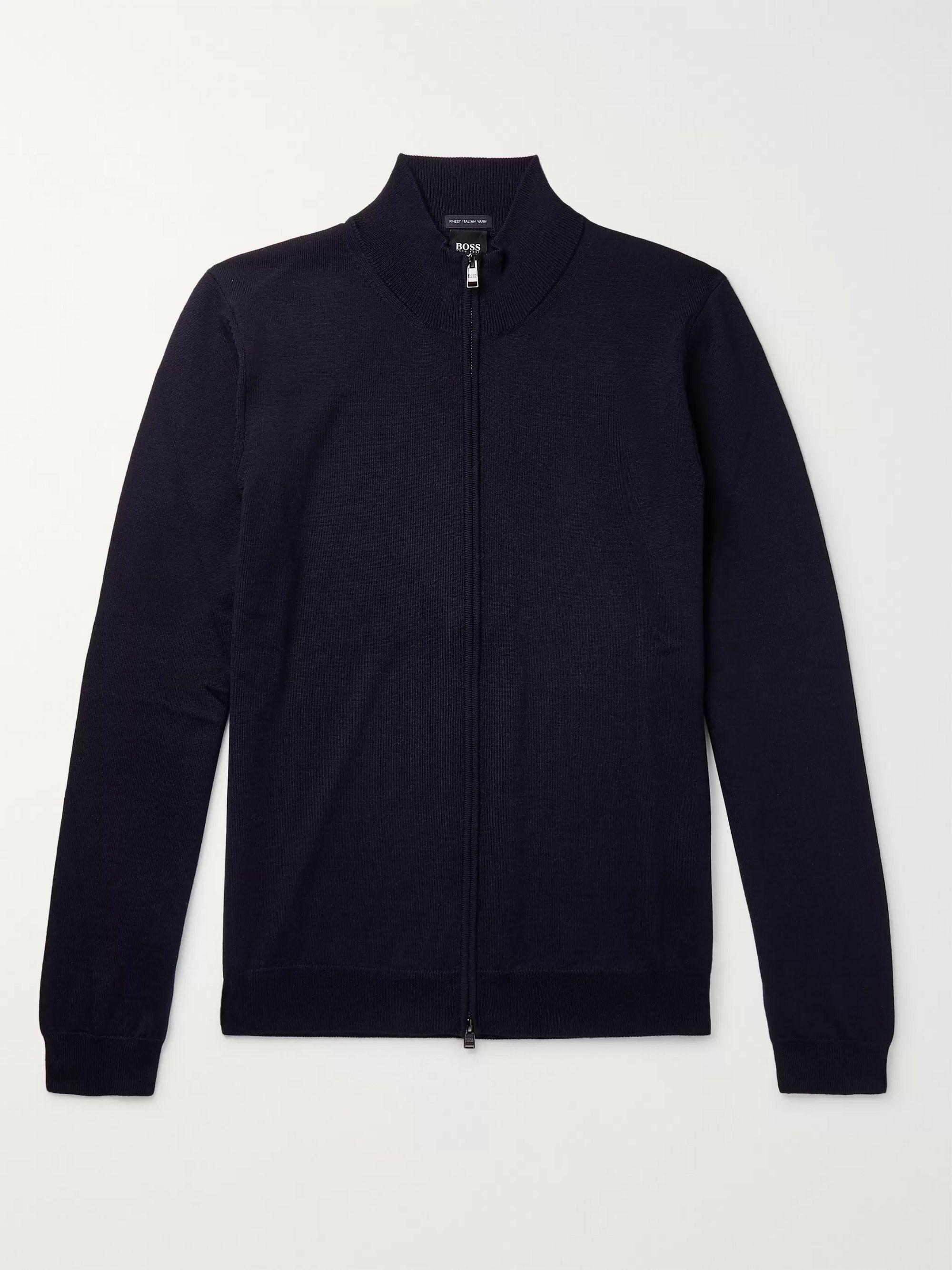 HUGO BOSS Virgin Wool Zip-Up Sweater