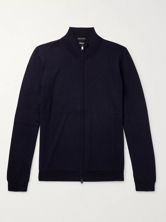 Hugo Boss Virgin Wool Zip-Up Sweater