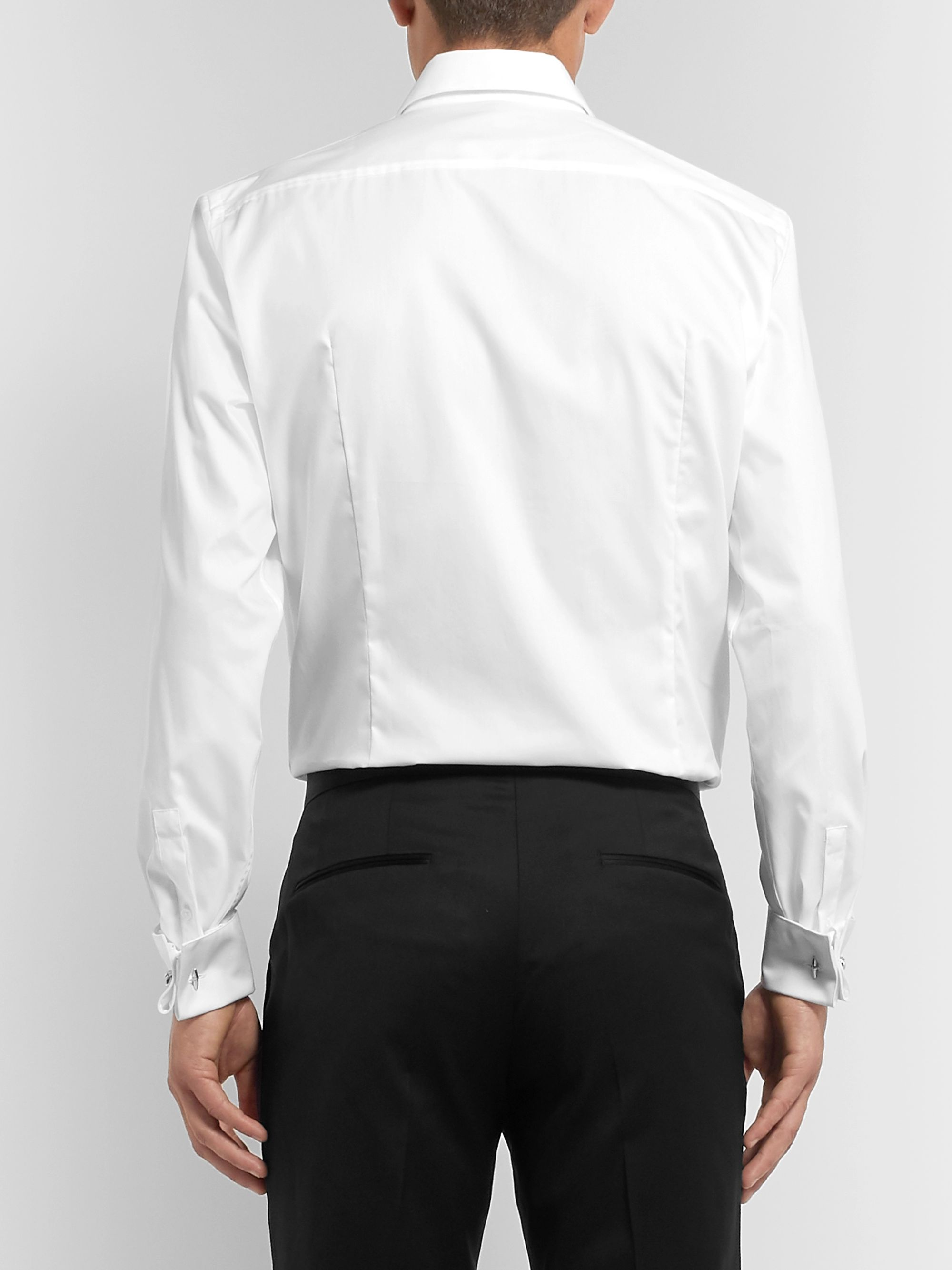 Hugo Boss White Slim-Fit Cutaway-Collar Pleated Bib-Front Cotton Tuxedo Shirt