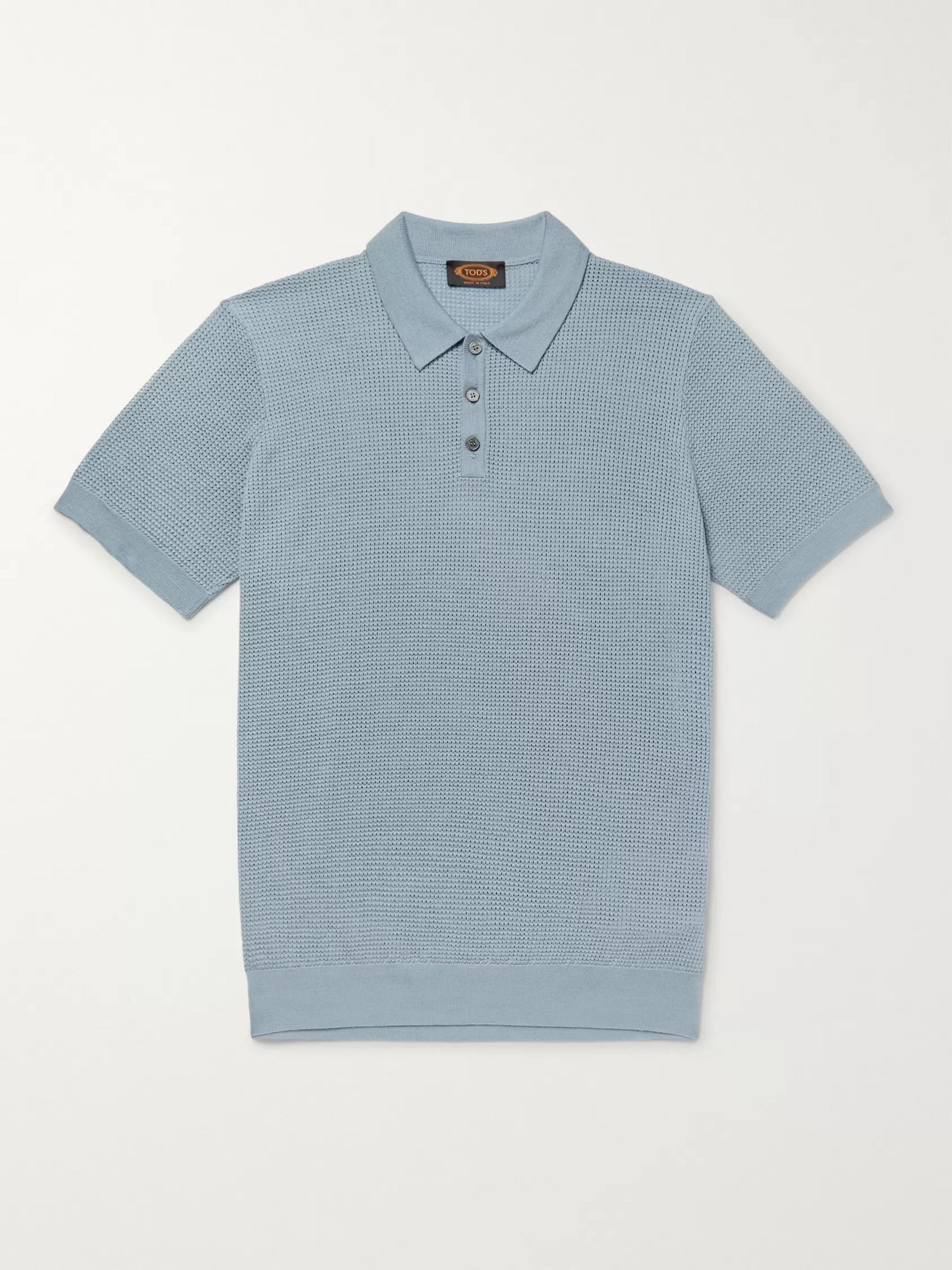 Tod's Slim-Fit Textured Merino Wool and Silk-Blend Polo Shirt
