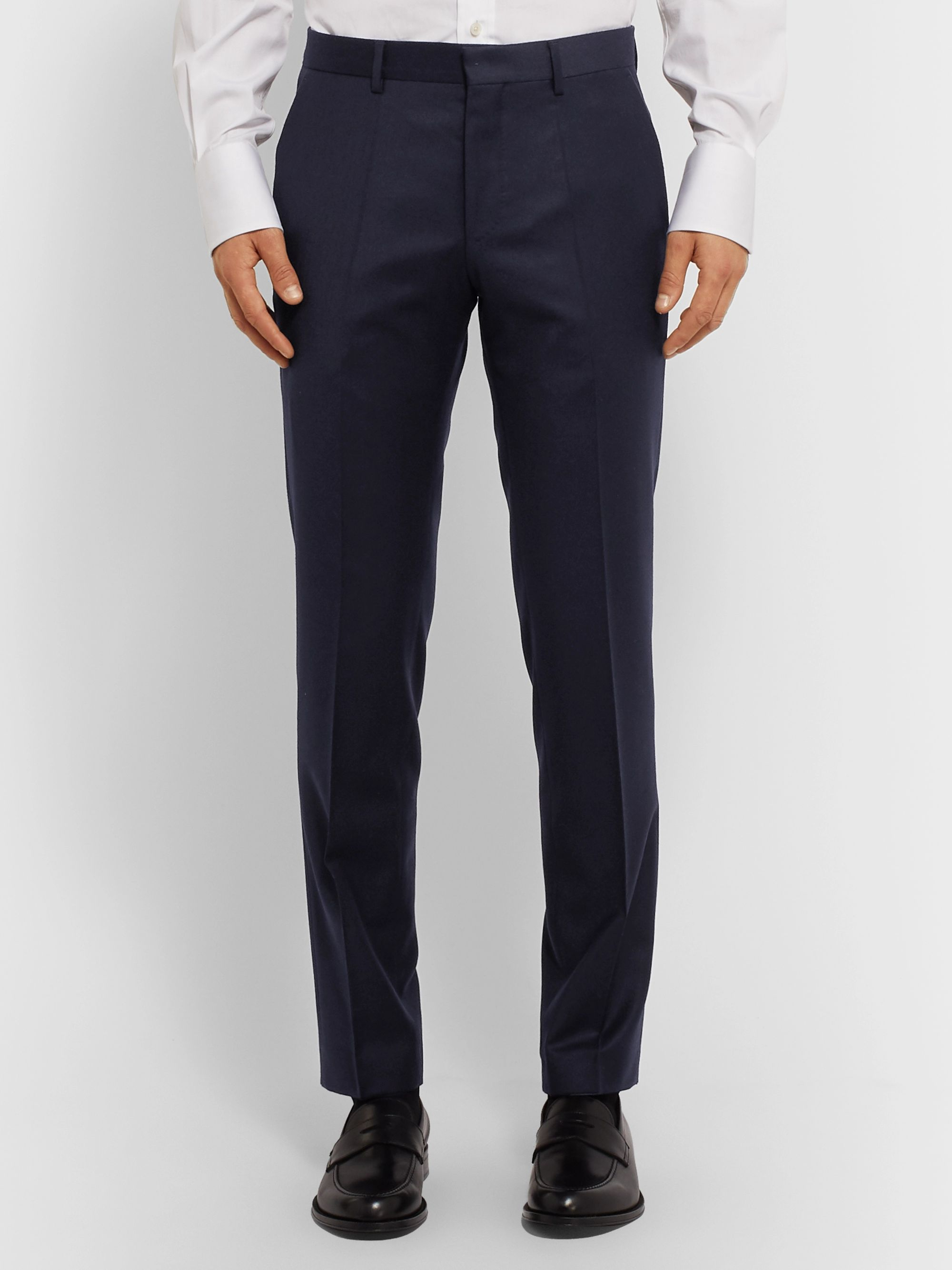 Hugo Boss Navy Slim-Fit Virgin Wool Suit Trousers