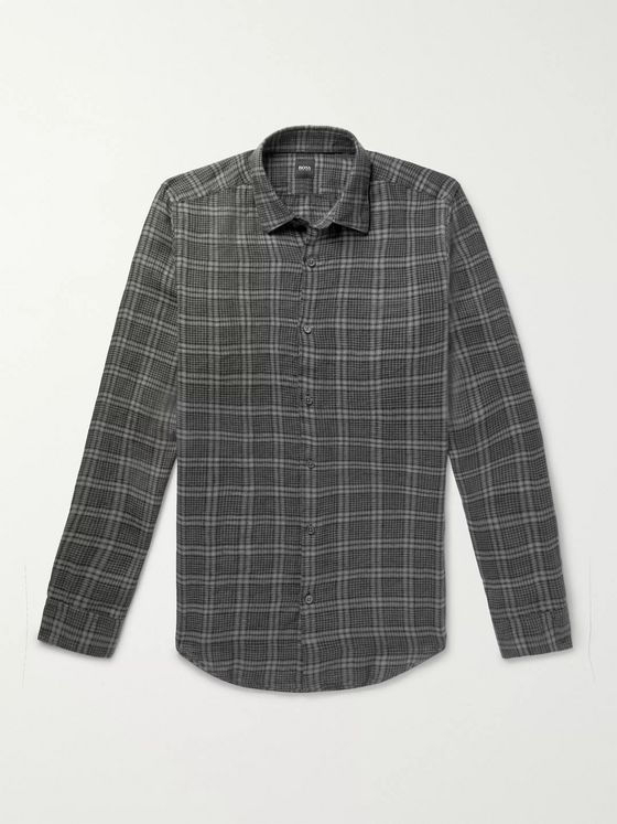 Hugo Boss Checked Linen Shirt