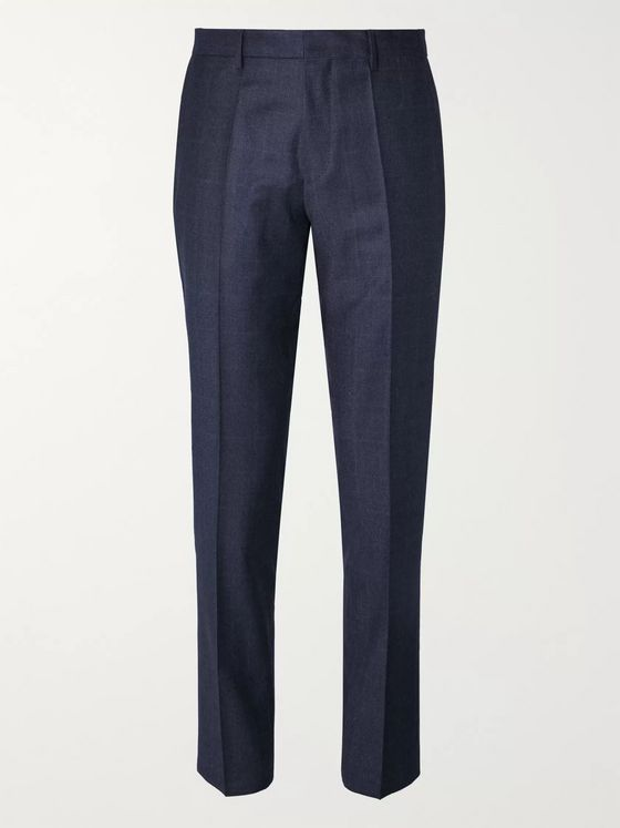Hugo Boss Navy Cropped Slim-Fit Checked Wool Trousers