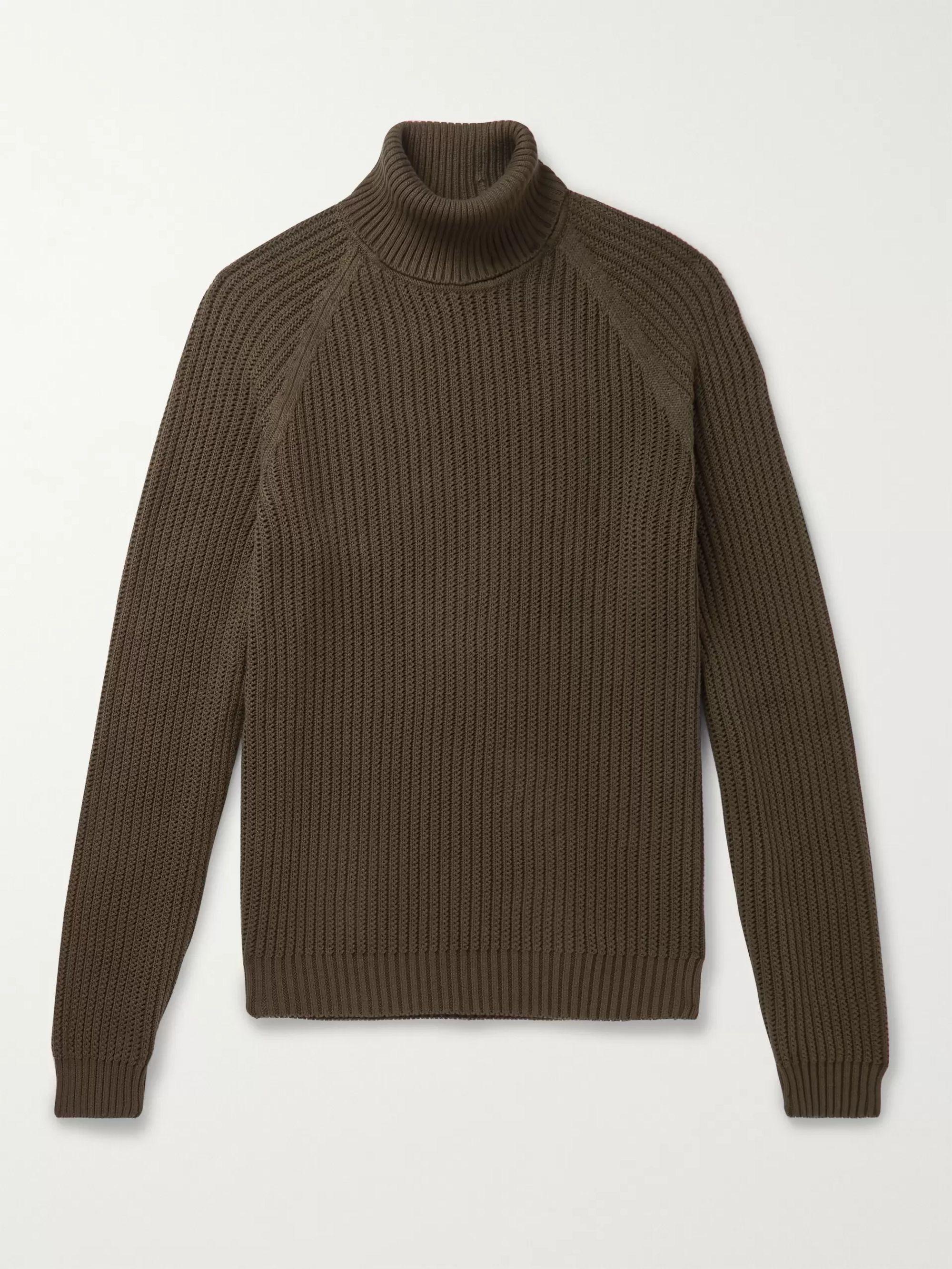 HUGO BOSS Ribbed Cotton Rollneck Sweater