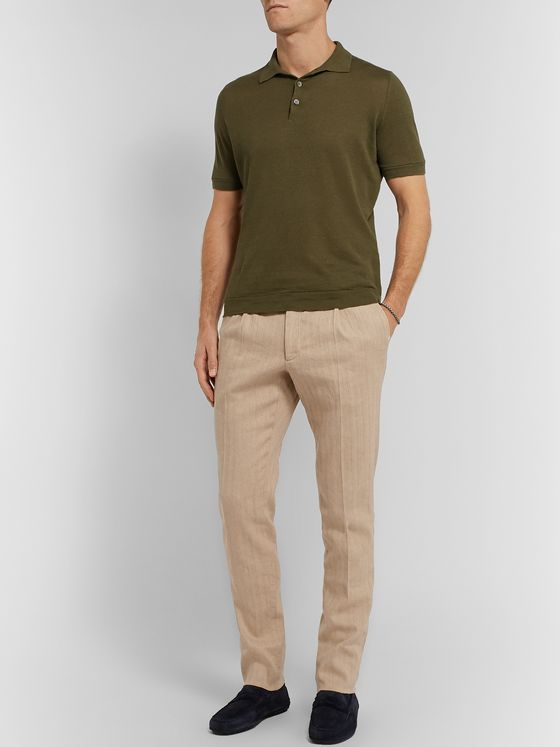Tod's Beige Slim-Fit Stretch Cotton and Linen-Blend Trousers
