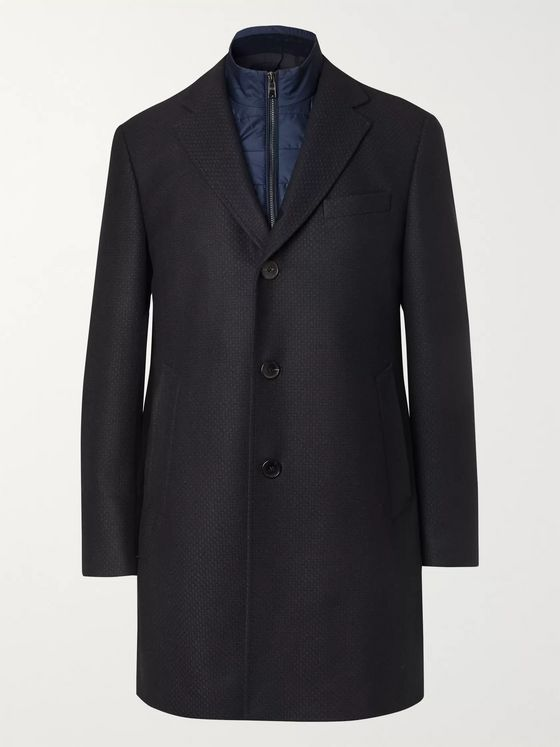 Hugo Boss Wool-Blend Coat With Detachable Shell Gilet