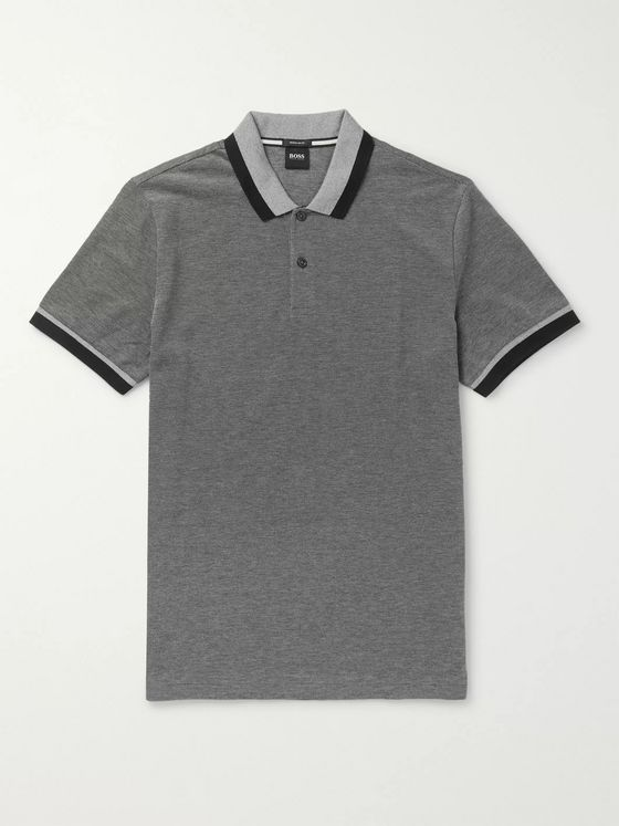 Hugo Boss Contrast-Tipped Striped Cotton Polo Shirt