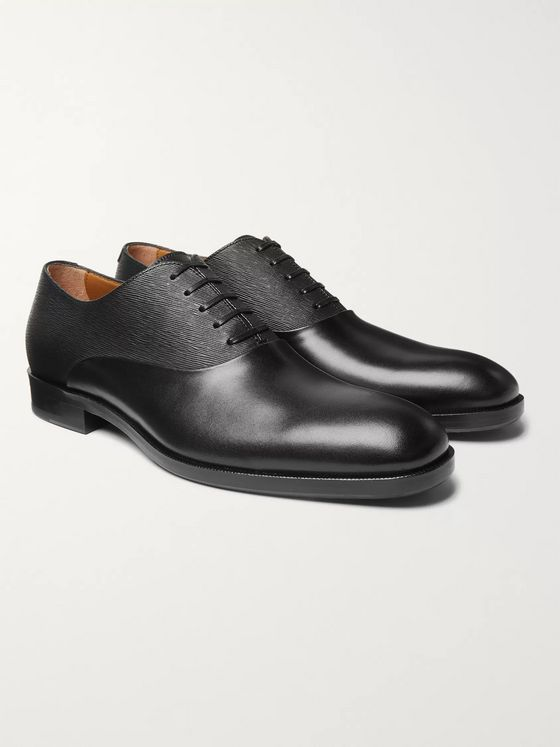 HUGO BOSS Stanford Smooth and Textured-Leather Oxford Shoes