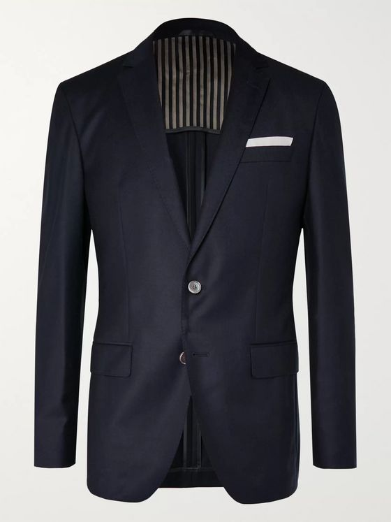 Hugo Boss Navy Hartlay Slim-Fit Unstructured Navy Virgin Wool Suit Jacket