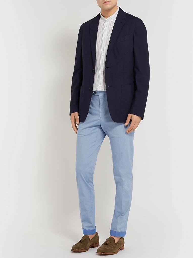 Tod's Sky-Blue Mélange Tapered Solaro Stretch-Cotton Trousers