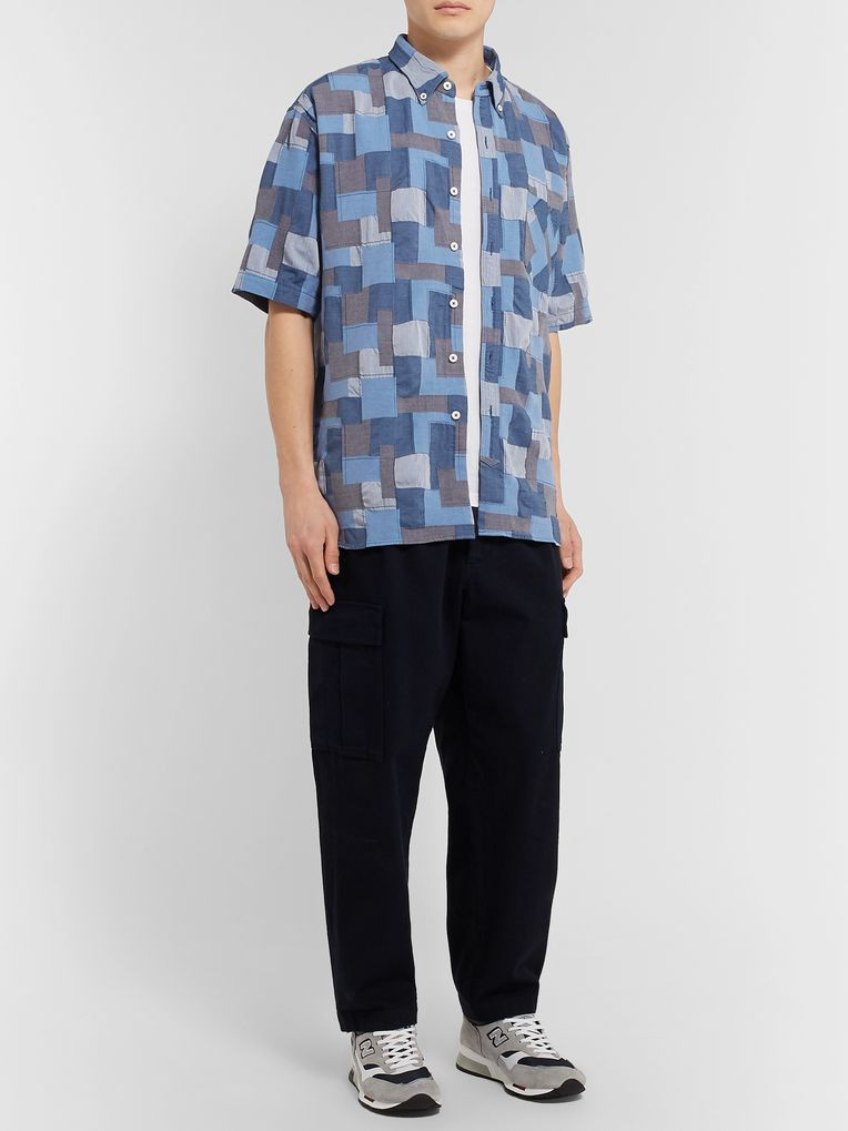 nonnative Dweller Button-Down Collar Patchwork Cotton Shirt