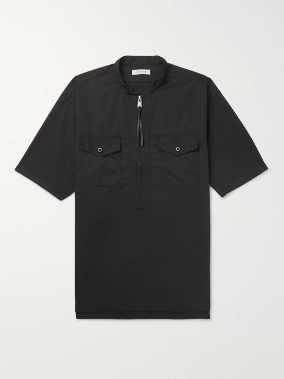 nonnative Grandad-Collar Wool-Blend Ripstop Half-Placket Shirt