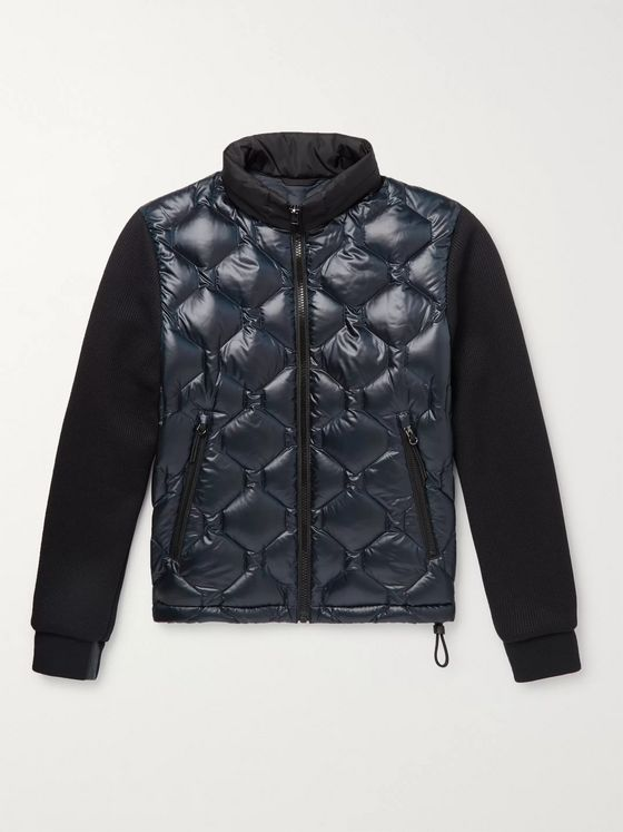 Hugo Boss Panelled Jersey and Quilted Shell Hooded Down Jacket