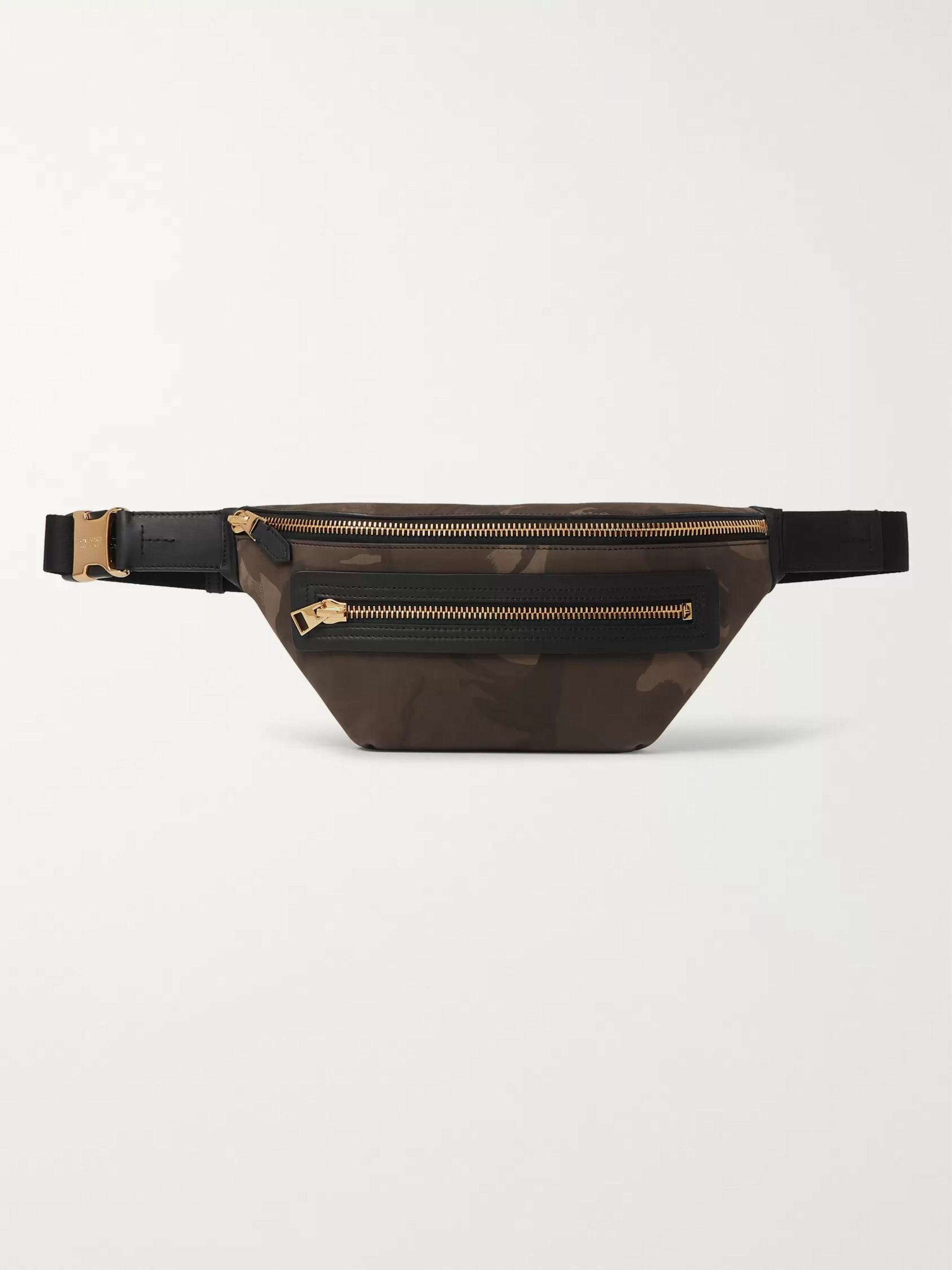 TOM FORD Leather-Trimmed Camouflage-Print Nubuck Belt Bag