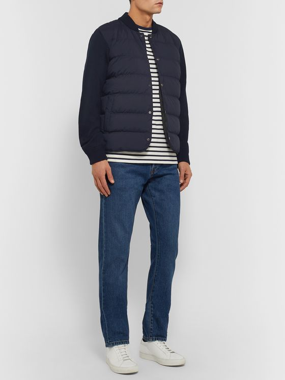 PAUL SMITH Slim-Fit Panelled Ribbed Wool and Quilted Shell Down Jacket