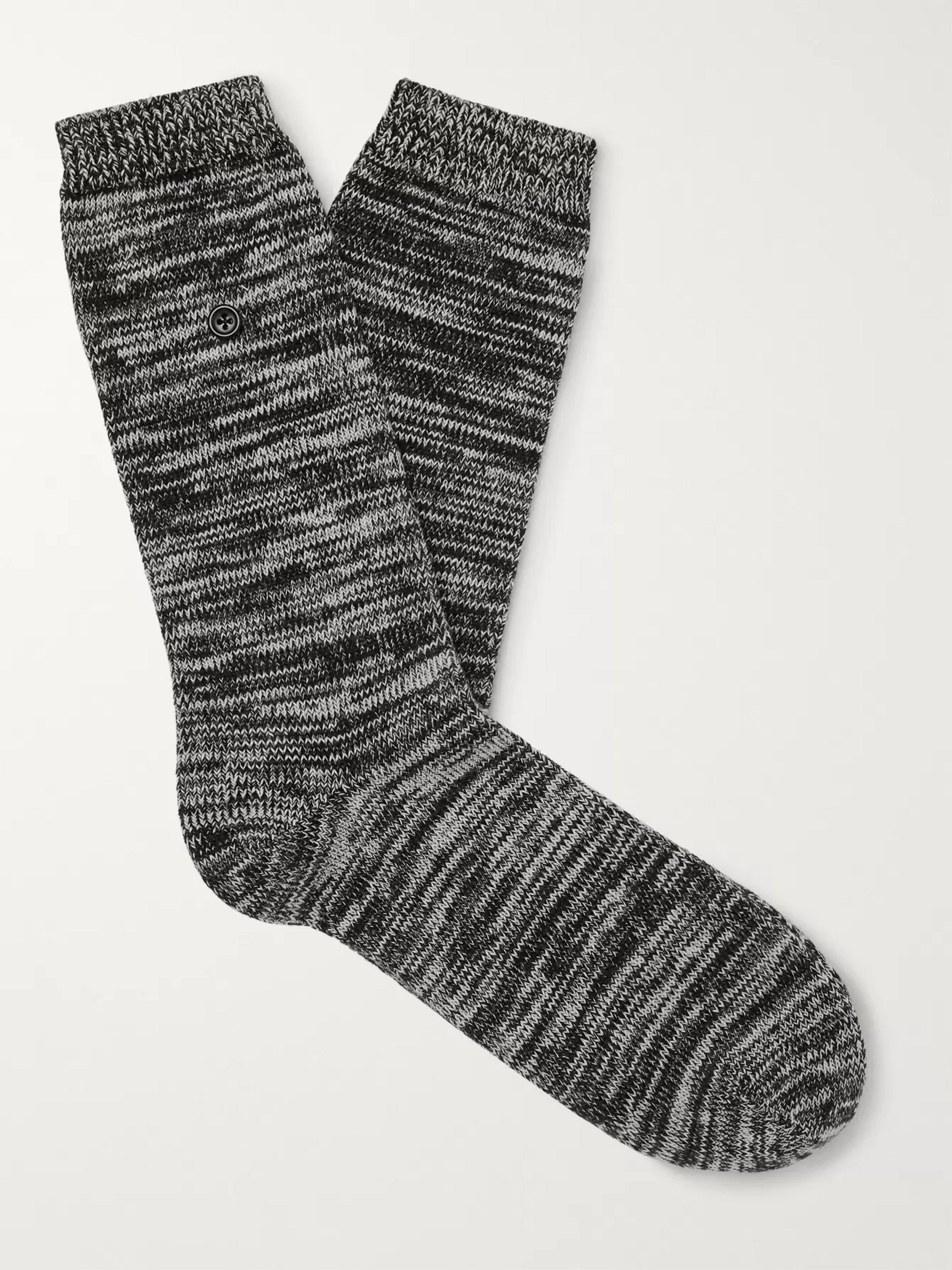 Folk Mélange Stretch Cotton-Blend Socks