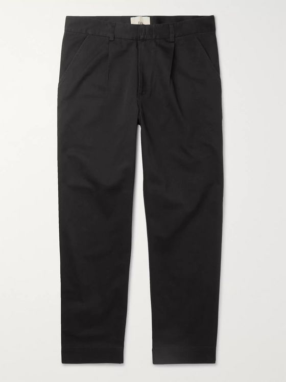 Folk Signal Tapered Cropped Pleated Cotton-Twill Trousers