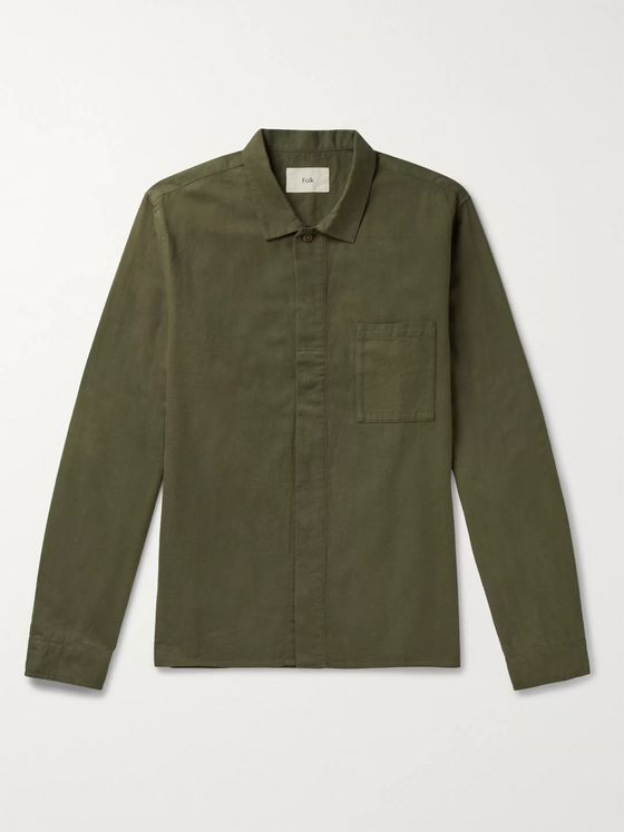 Folk Patch Brushed Cotton-Twill Shirt
