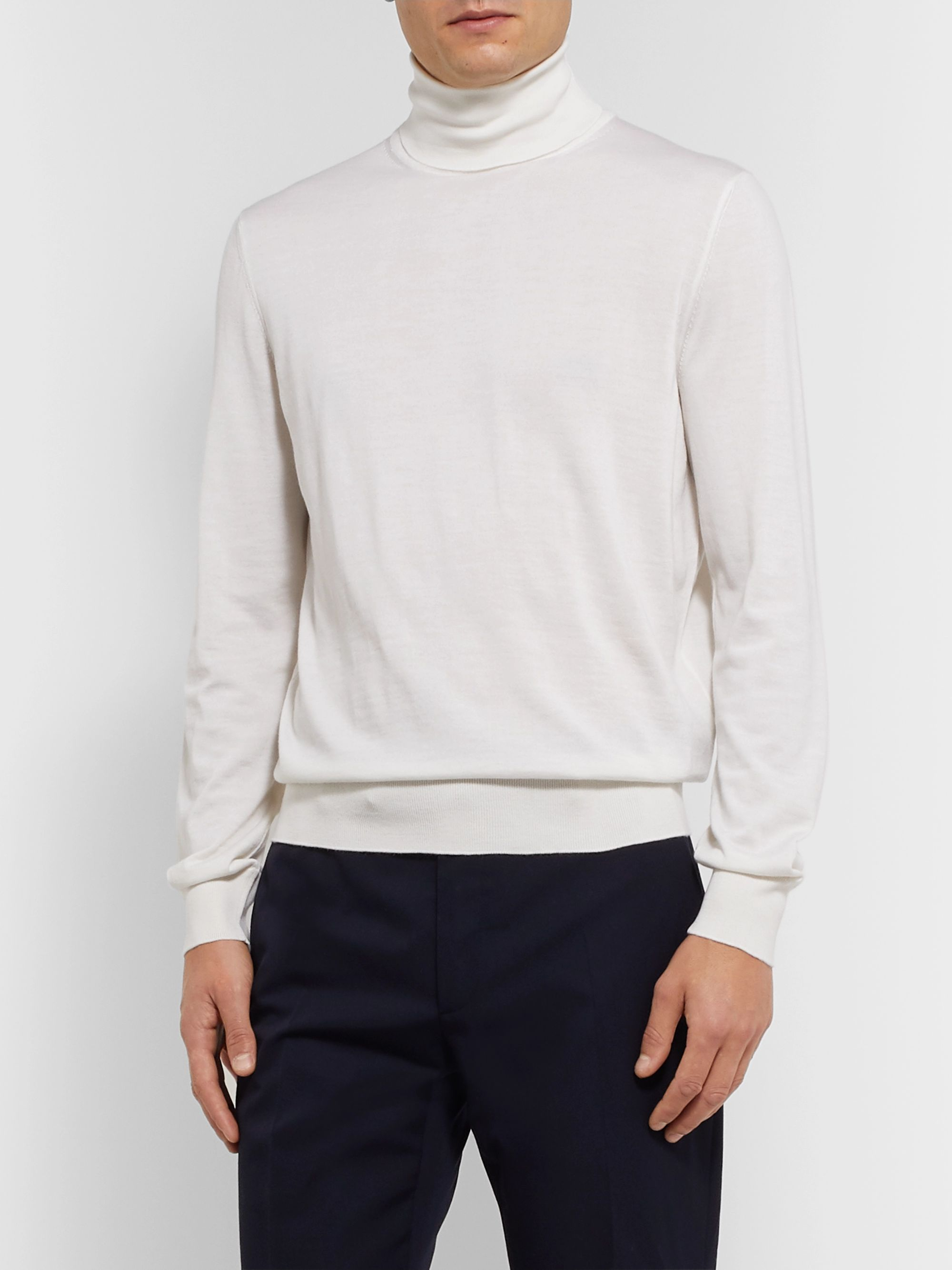 Ermenegildo Zegna Slim-Fit Cashmere and Silk-Blend Rollneck Sweater