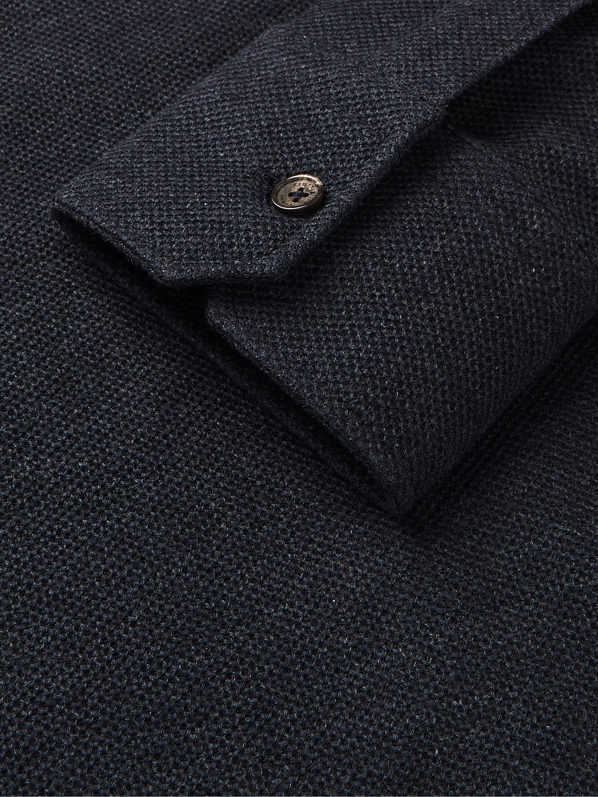 Ermenegildo Zegna Suede-Trimmed Cotton and Cashmere-Blend Piqué Polo Shirt