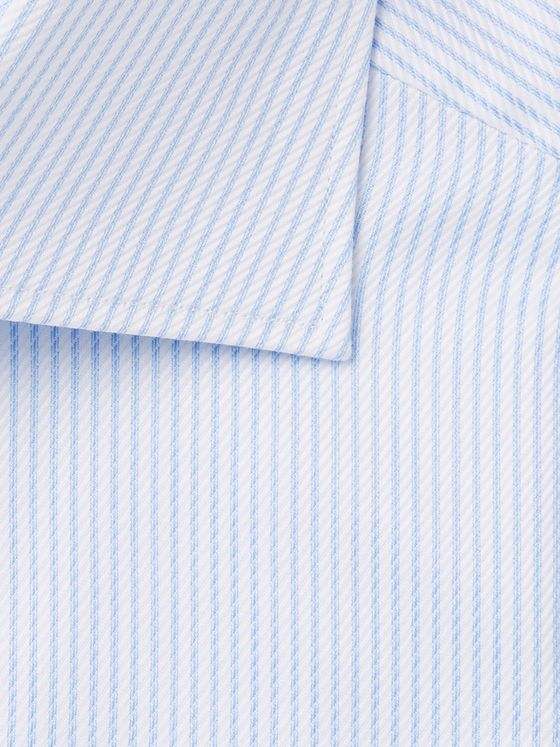 Ermenegildo Zegna Light-Blue Cutaway-Collar Striped Cotton Shirt
