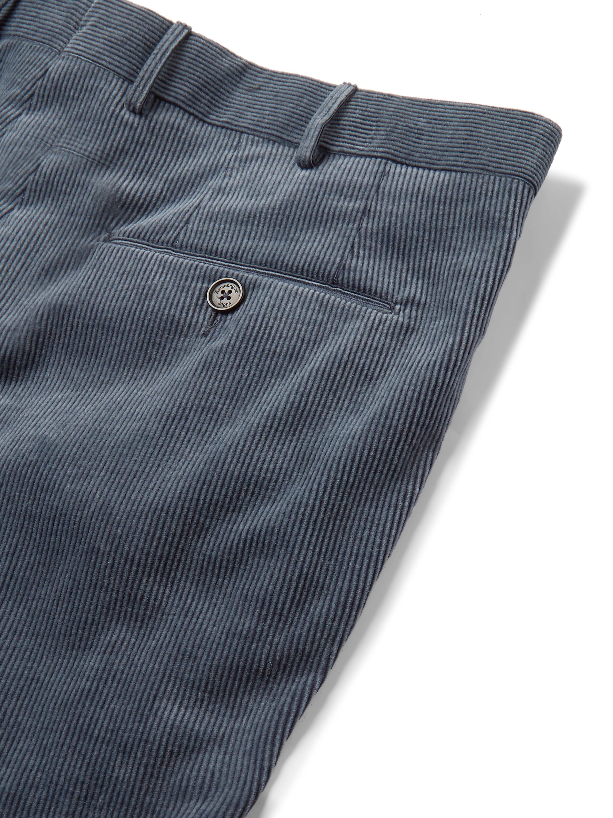 Ermenegildo Zegna Slim-Fit Cotton-Blend Corduroy Trousers