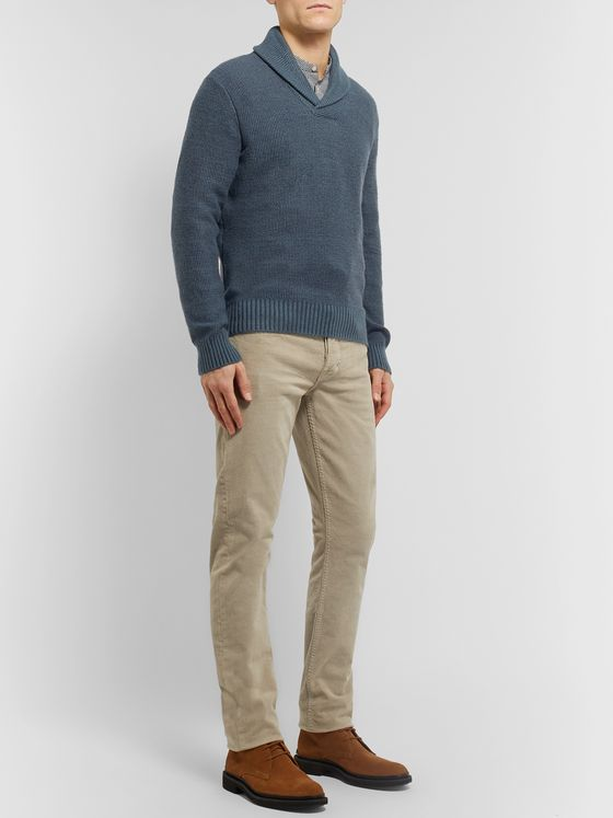 Ermenegildo Zegna Shawl-Collar Wool, Cashmere and Silk-Blend Sweater