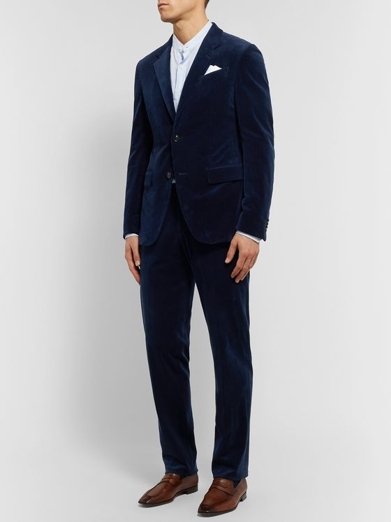 Ermenegildo Zegna Navy Slim-Fit Cotton-Blend Corduroy Suit Jacket