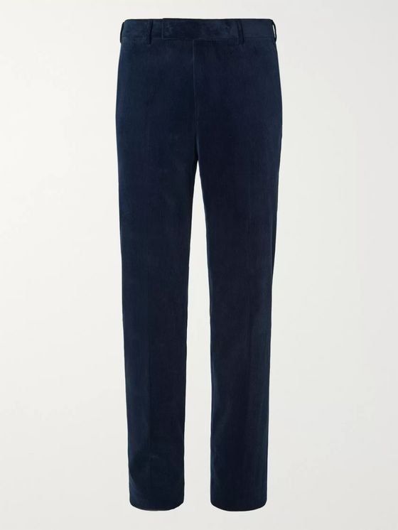 Ermenegildo Zegna Navy Slim-Fit Cotton-Blend Corduroy Suit Trousers