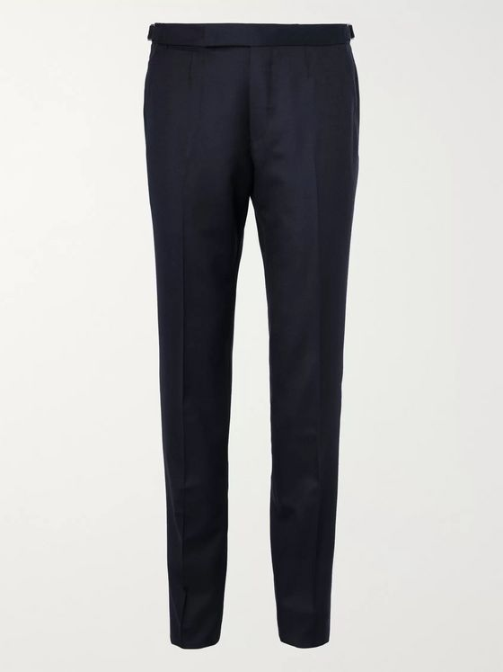 Ermenegildo Zegna Navy Wool-Flannel Trousers