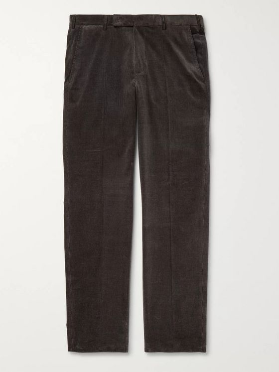 Ermenegildo Zegna Dark-Grey Slim-Fit Cotton-Blend Corduroy Trousers