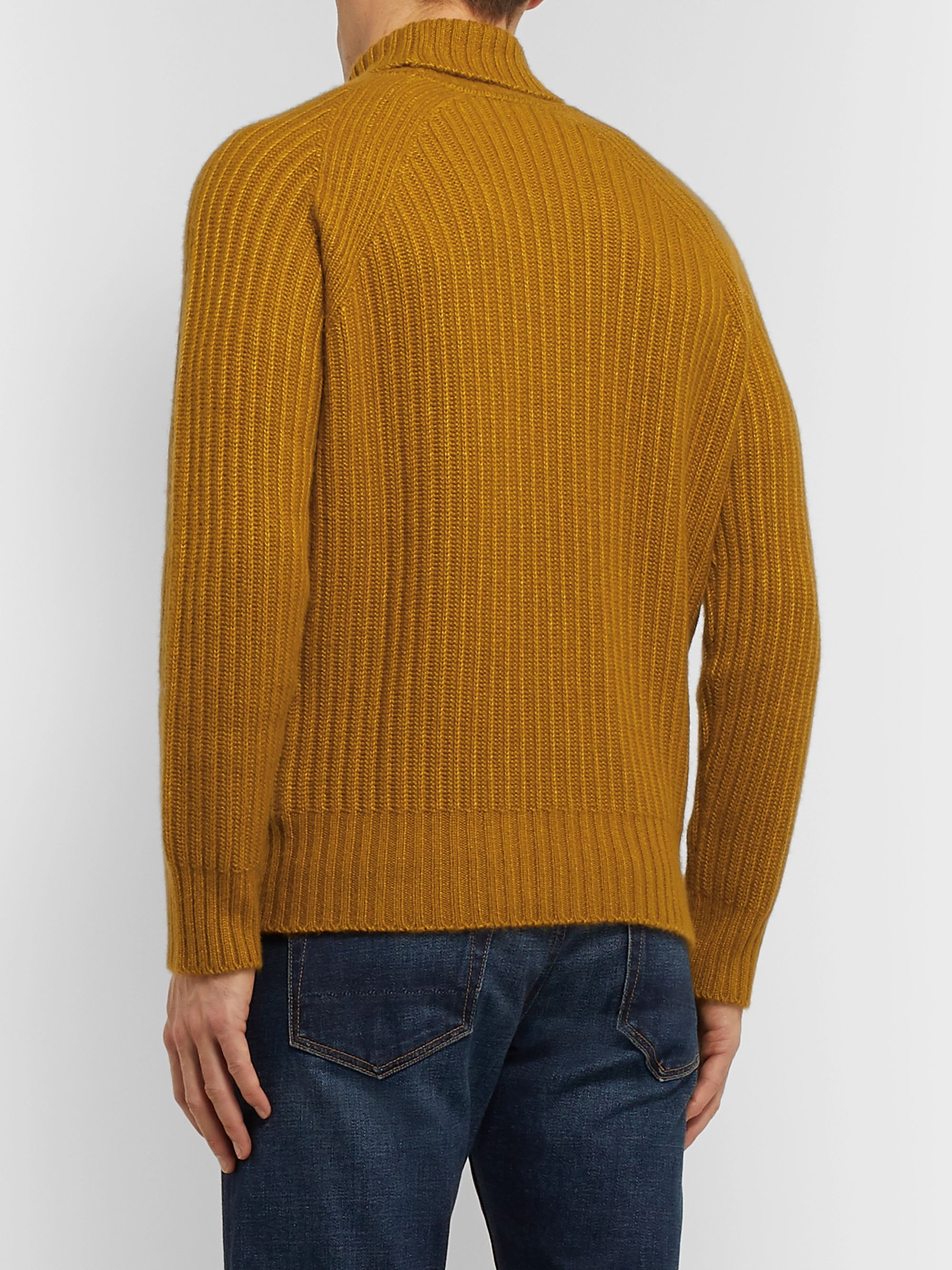 Ermenegildo Zegna Slim-Fit Ribbed Cashmere and Silk-Blend Rollneck Sweater