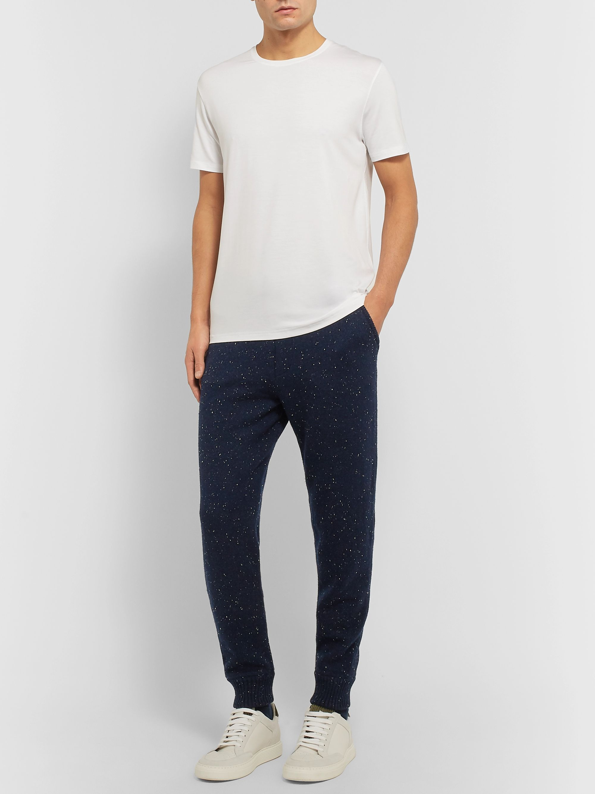 Ermenegildo Zegna Tapered Donegal Wool, Silk and Cashmere-Blend Sweatpants