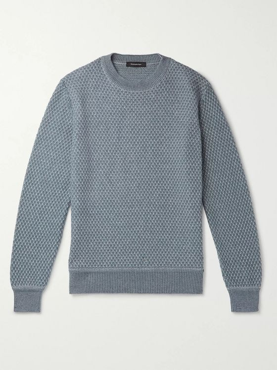 Ermenegildo Zegna Waffle-Knit Cashmere and Silk-Blend Sweater