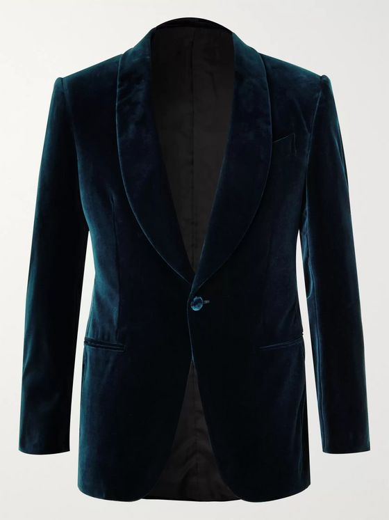 Ermenegildo Zegna Navy Slim-Fit Cotton-Velvet Tuxedo Jacket