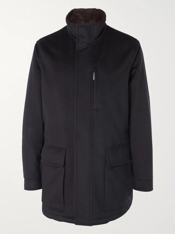 Ermenegildo Zegna Suede and Shearling-Trimmed Padded Cashmere Jacket