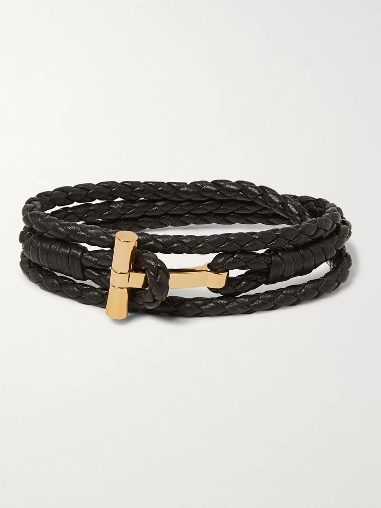 TOM FORD Woven Leather and Silver-Tone Wrap Bracelet