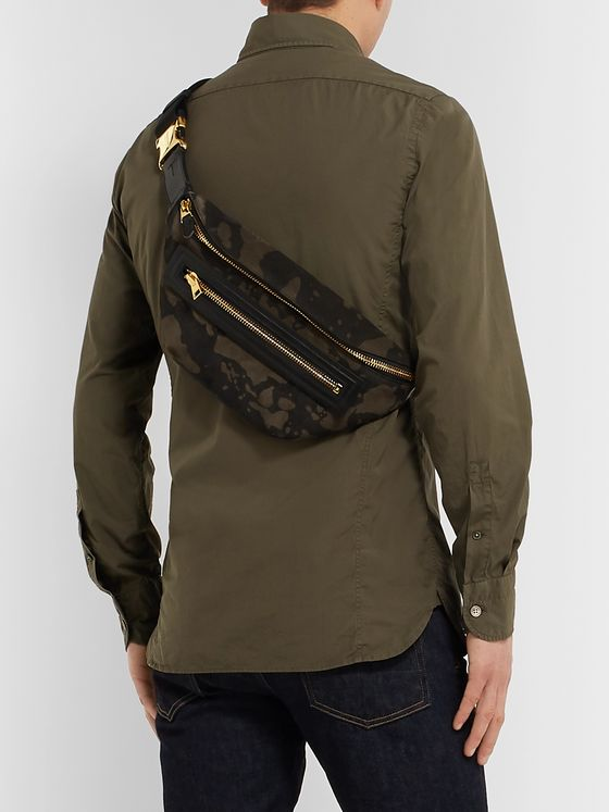 TOM FORD Leather-Trimmed Camouflage-Print Suede Belt Bag