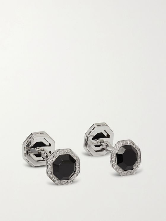 TOM FORD 18-Karat White Gold, Onyx and Diamond Cufflinks