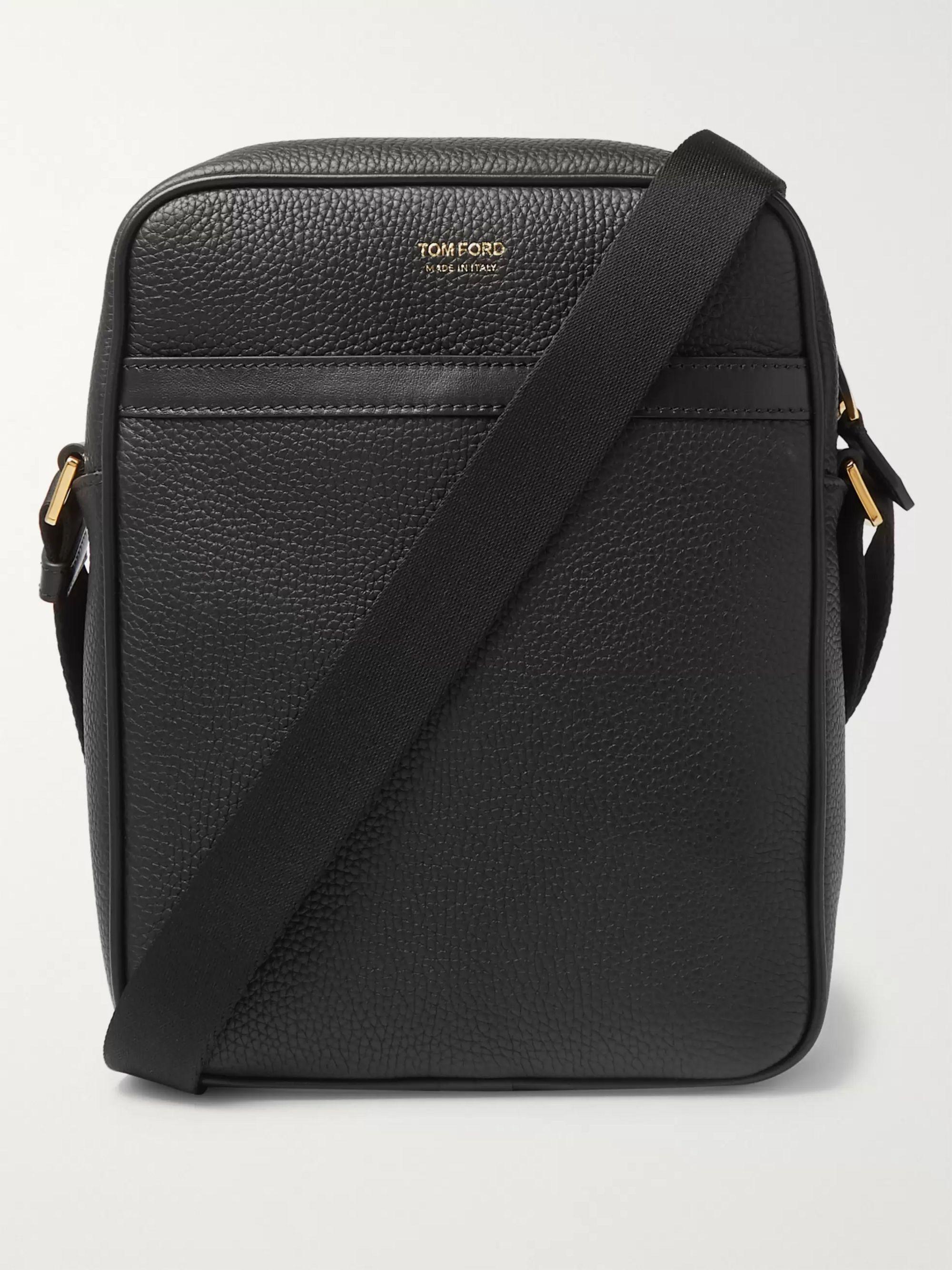탐 포드 Tom Ford Full-Grain Leather Messenger Bag,Black