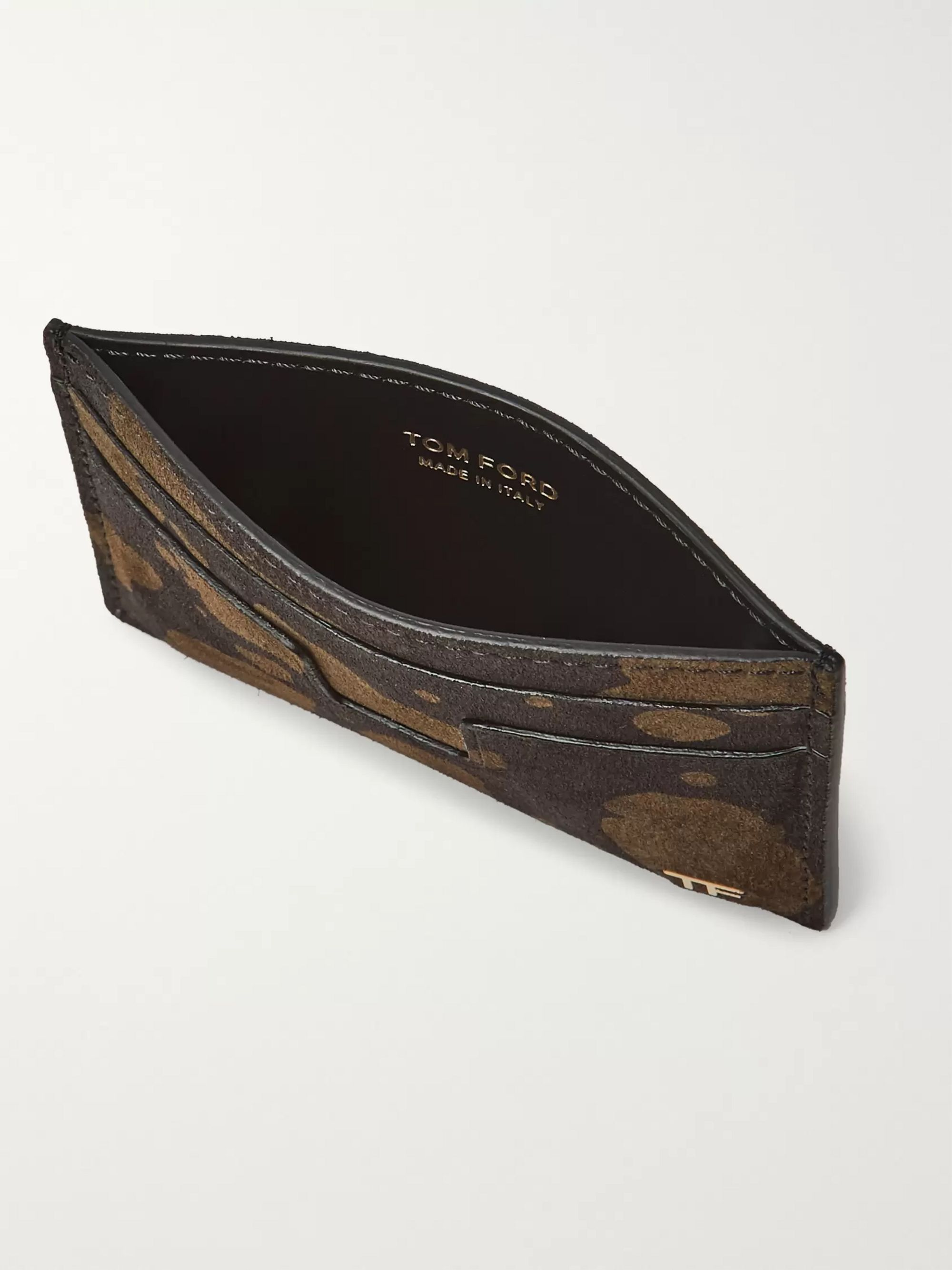 TOM FORD Camouflage-Print Suede Cardholder