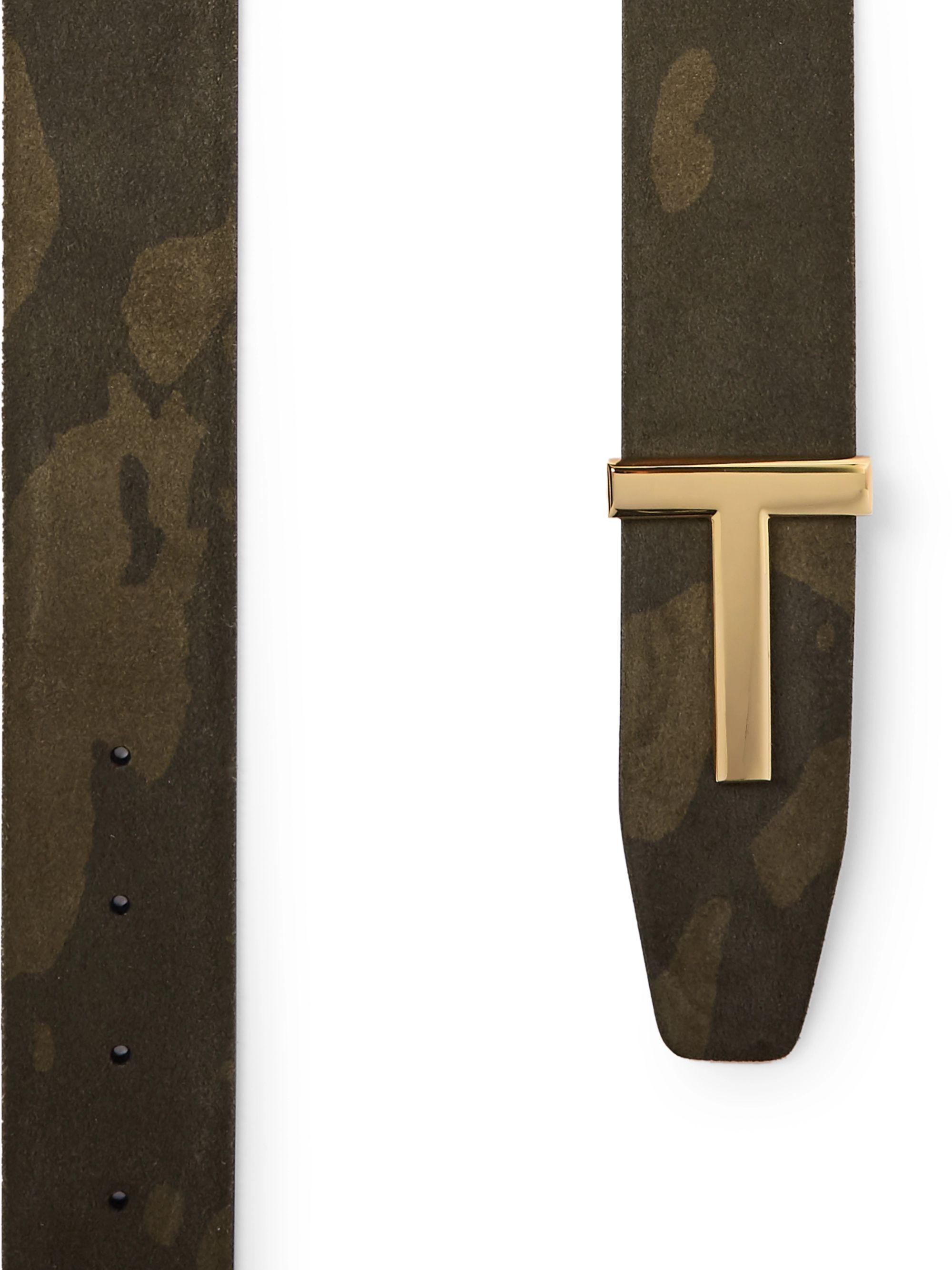 TOM FORD 4cm Reversible Camouflage-Print Suede and Black Leather Belt