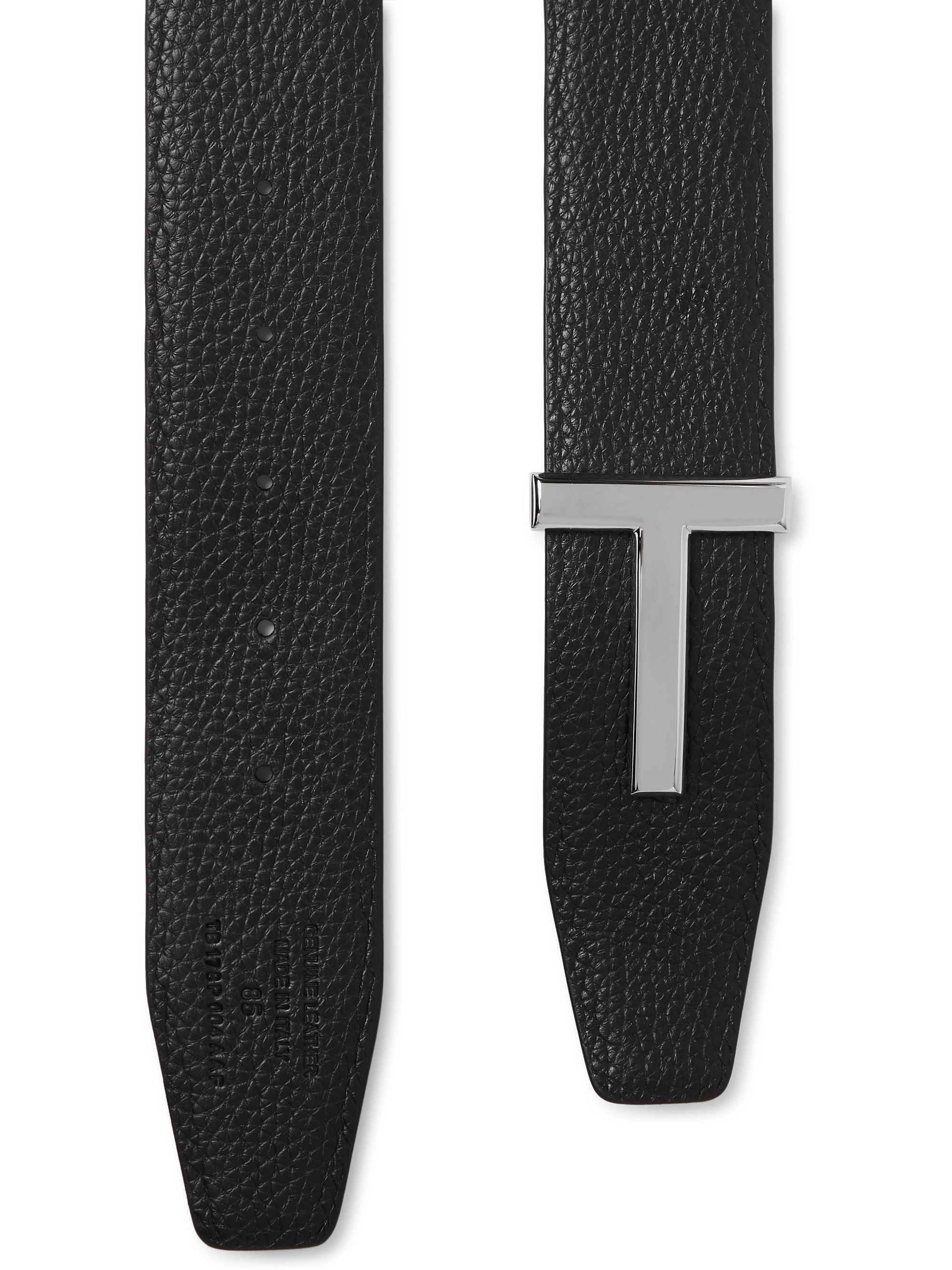 TOM FORD 4cm Black and Midnight-Blue Reversible Full-Grain Leather Belt