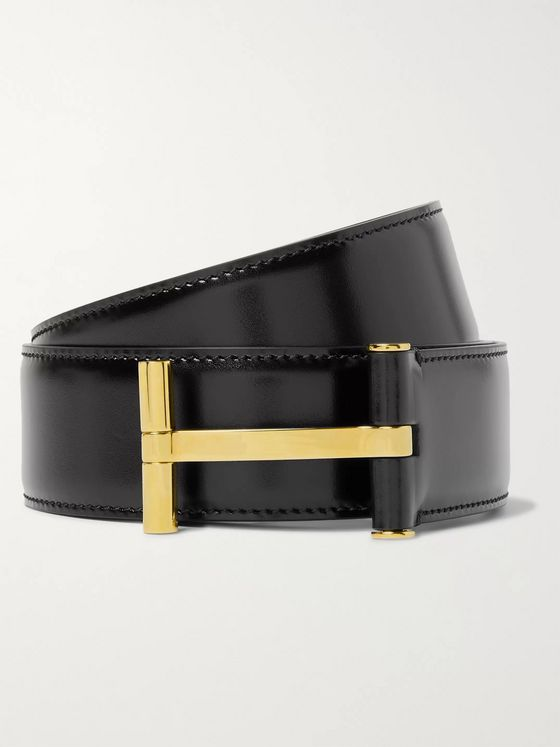 TOM FORD 4cm Black Polished-Leather Belt