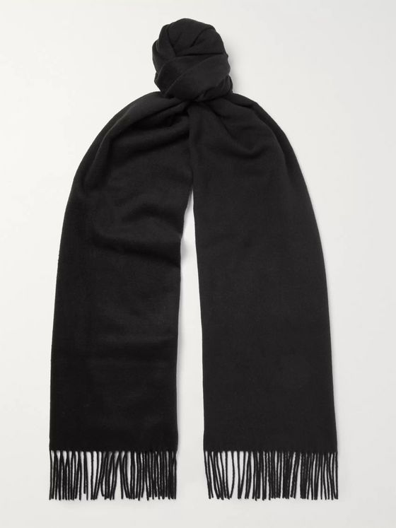 TOM FORD Fringed Logo-Embroidered Brushed-Silk Scarf