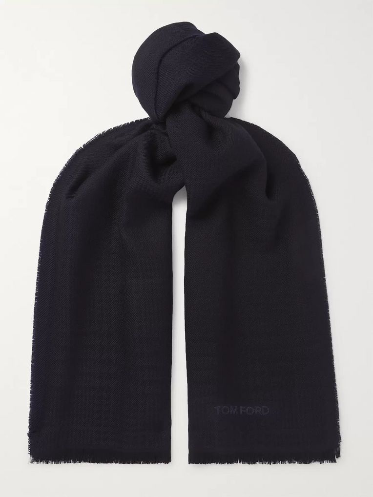TOM FORD Herringbone Wool Scarf