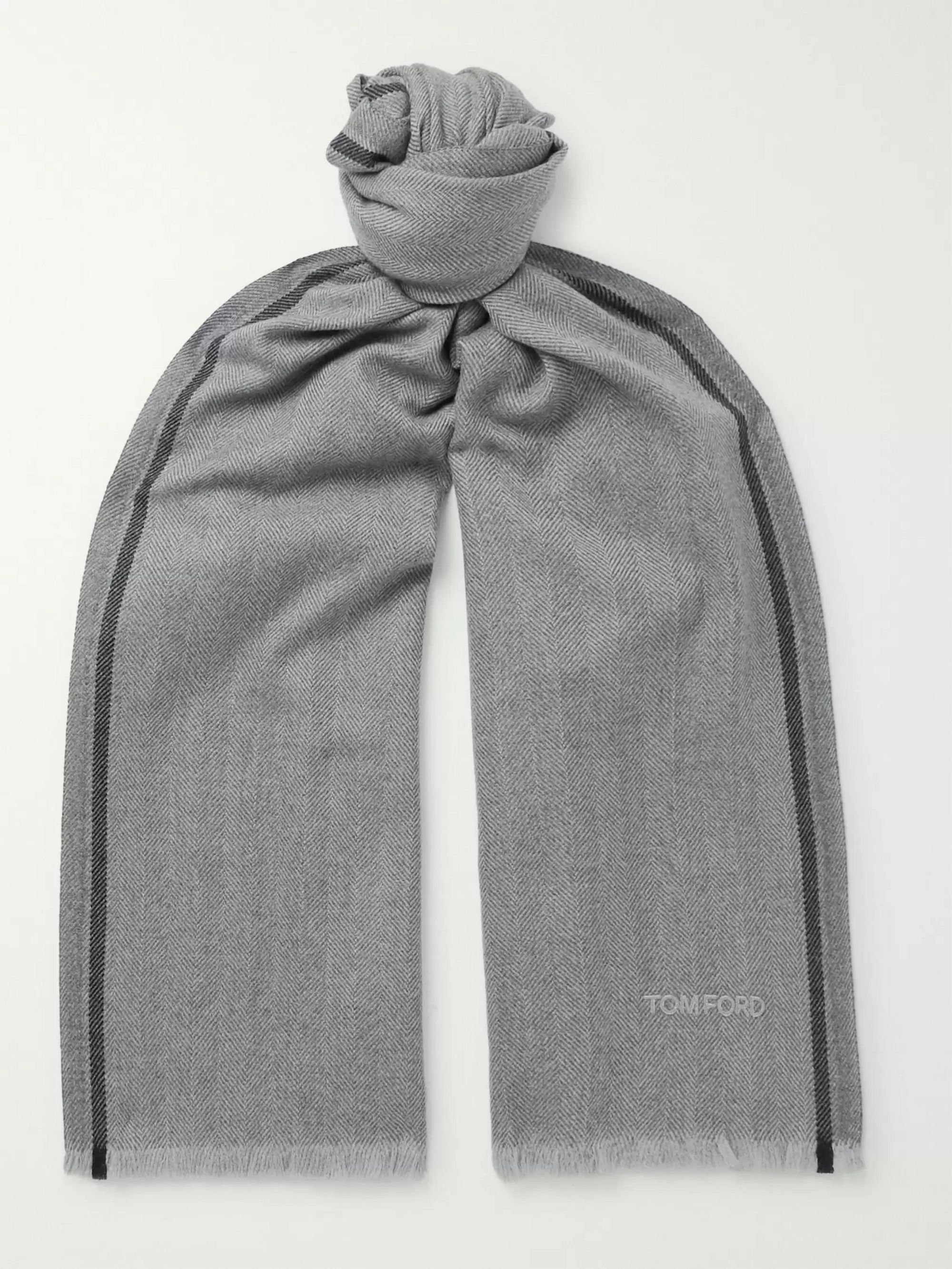 TOM FORD Fringed Logo-Embroidered Herringbone Brushed-Wool Scarf