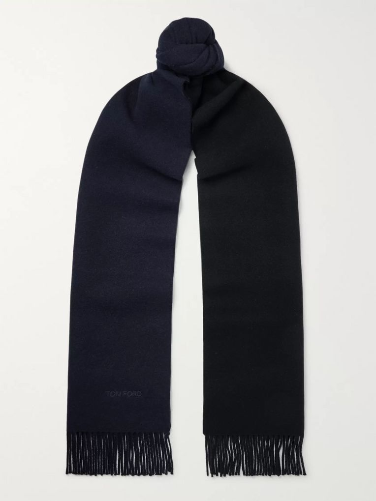 TOM FORD Reversible Fringed Logo-Embroidered Wool and Cashmere-Blend Scarf