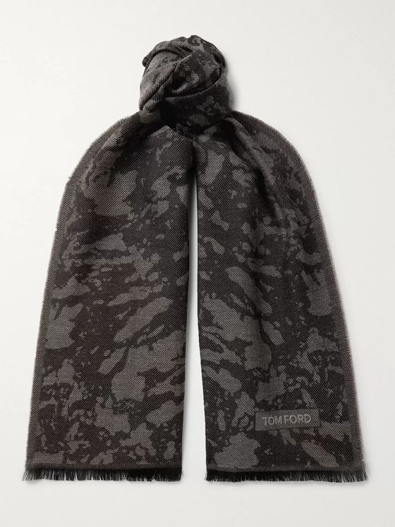 TOM FORD Fringed Camouflage-Print Wool Scarf