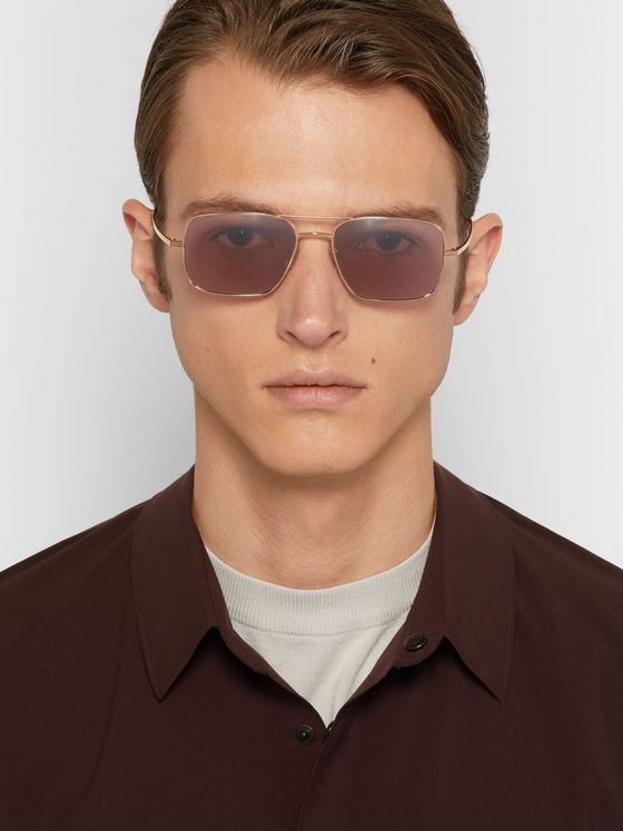 The Row + Oliver Peoples Victory LA Aviator-Style Silver-Tone Titanium Polarised Sunglasses